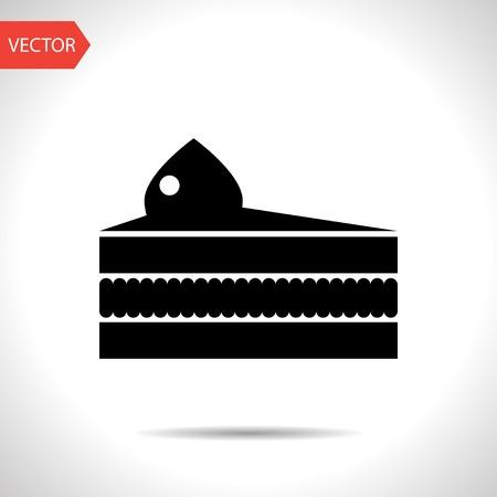 porcion de pastel: Vector icono de pieza de pastel. Icono del alimento.