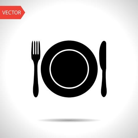 cuchillo de cocina: cocina icono del plato, tenedor y cuchillo Vectores