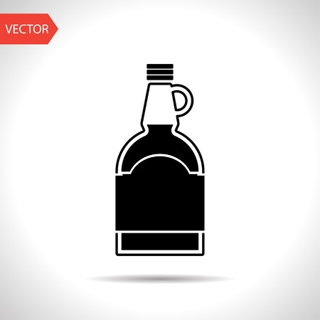 sweet sauce: kitchen icon of mapple syrup bottle Illustration