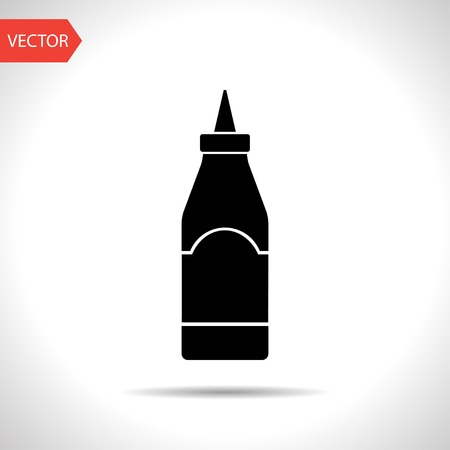 catsup: kitchen icon of sause bottle Illustration