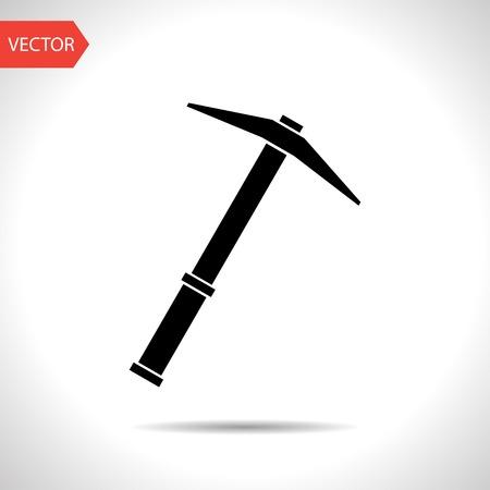mattock: vector flat black icon of pick.
