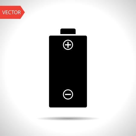 polarity: vector flat black icon of battery.