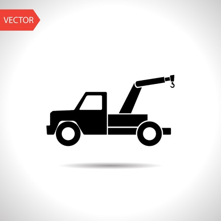 tow car: vector flat black icon of tow car.