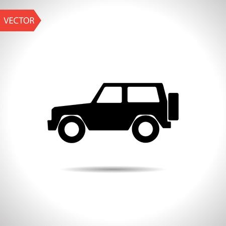 4 wheel: vector plana icono negro de 4 ruedas motrices Vectores
