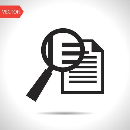 documentos: icono negro del documento lupe