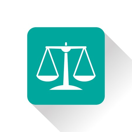 acquit: Green Justice scale icon on white background