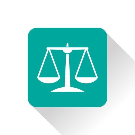 judicial system: Icono verde escala Justicia en el fondo blanco Vectores