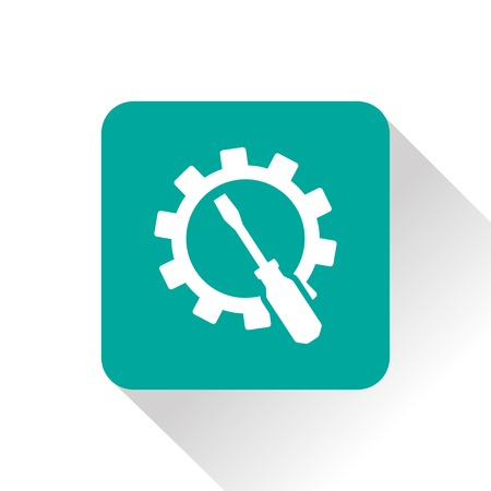 head shot: Screwdriver and gear icon, vector illustration
