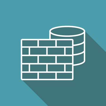 icon of firewall and database Illustration