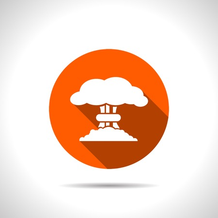 nuclear explosion: Mushroom cloud, nuclear explosion, silhouette, vector Illustration