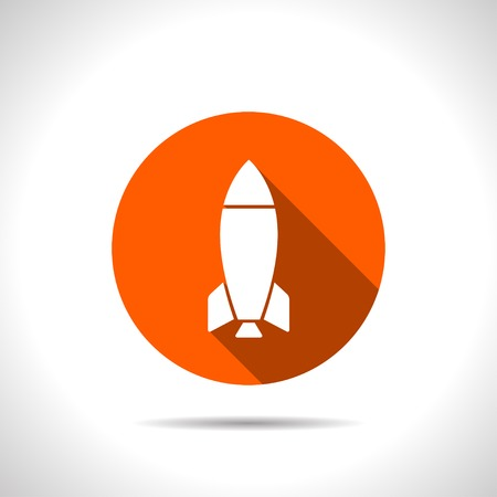 rocket ship: Vector orange Rocket Icon Isolated on White Background Illustration