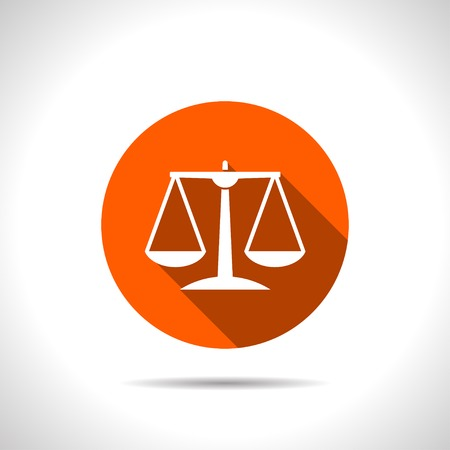 righteousness: orange Justice scale icon on white background