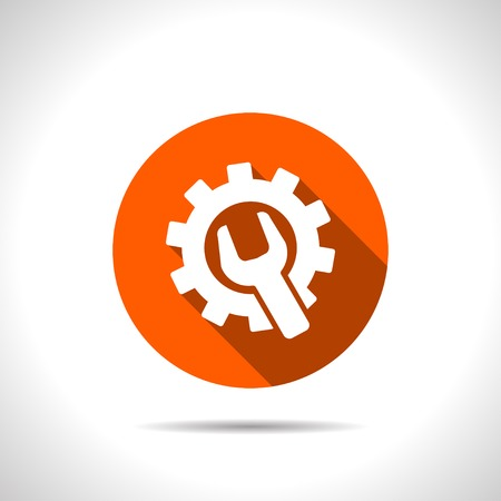 building lot: Wrench and gear icon, vector illustratoon