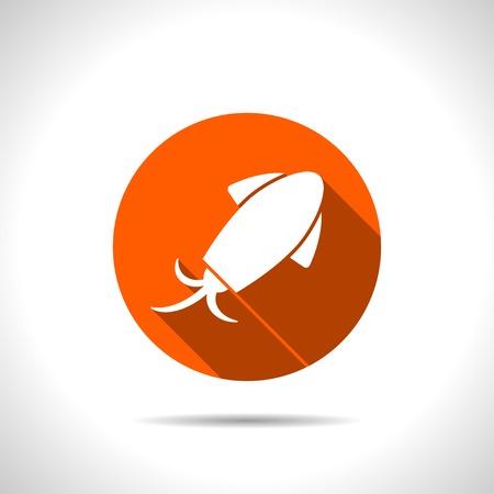 cuttlefish: Vector squid icon. Food icon.