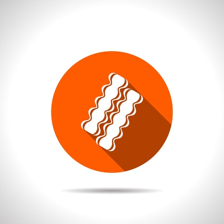 bacon strips: Vector bacon icon. Food icon.