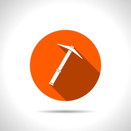 mattock: orange icon of pick Illustration