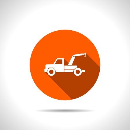 tow car: orange icon of tow car