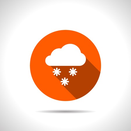 stormy clouds: orange icon of snow