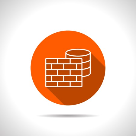 sql: icon of firewall and database Illustration