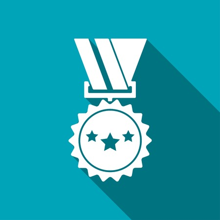 award background: Award Icon with ribbons and stars icon on blue background, vector illustration