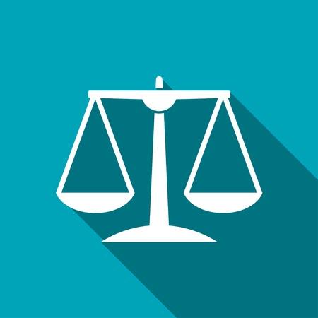 dama de la justicia: Icono de escala Justicia Blanco sobre fondo azul