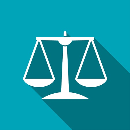 acquit: White Justice scale icon on blue background