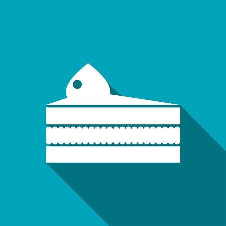 piece of cake: Vector icono de pieza de pastel. Icono del alimento. Eps10 Vectores