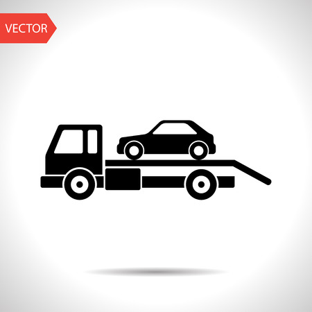 tow: Tow car evacuation icon Illustration