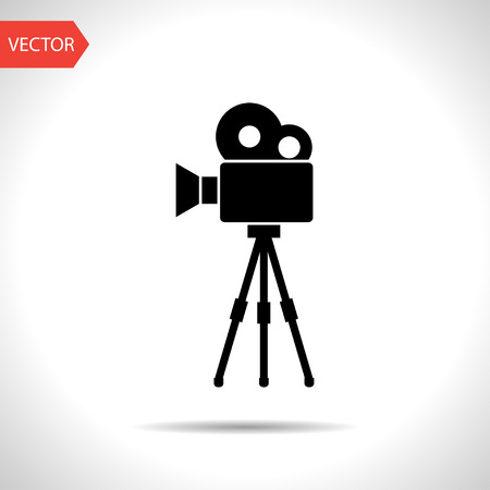 Movie camera on tripod icon