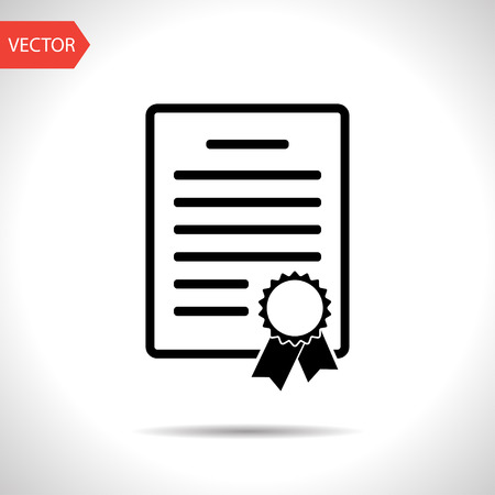 simple: certificate with badge icon Illustration