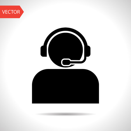 Customer support operator with headset icon 일러스트