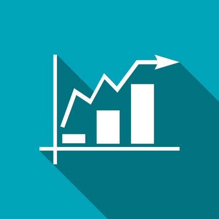upward graph: Growing bars graphic icon with rising arrow Illustration