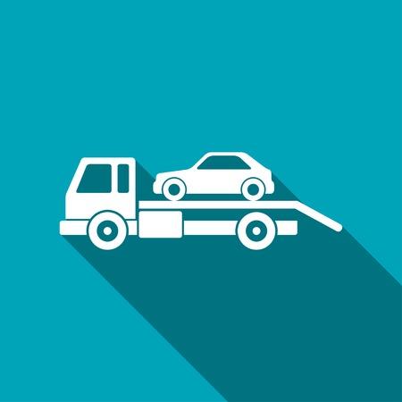 tow car: Tow car evacuation icon Illustration