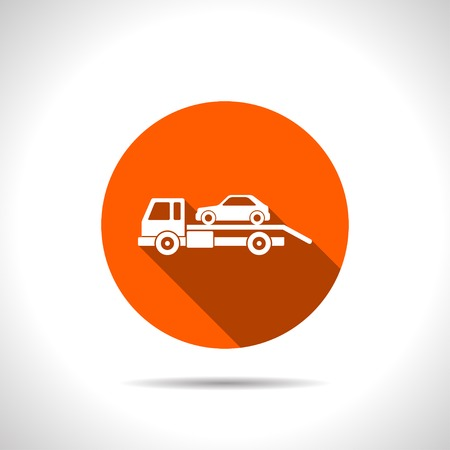 evacuation: Tow car evacuation icon Illustration