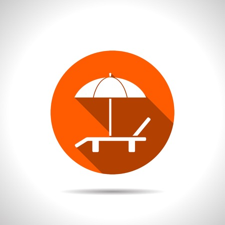 daybed: Beach vector icon. Umbrella with deck chair