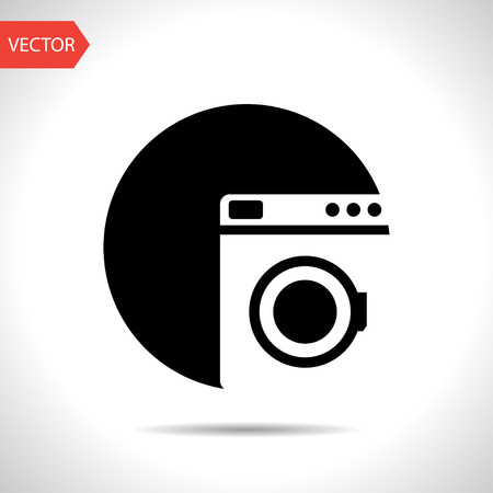 washing machine: icono de la lavadora Vectores