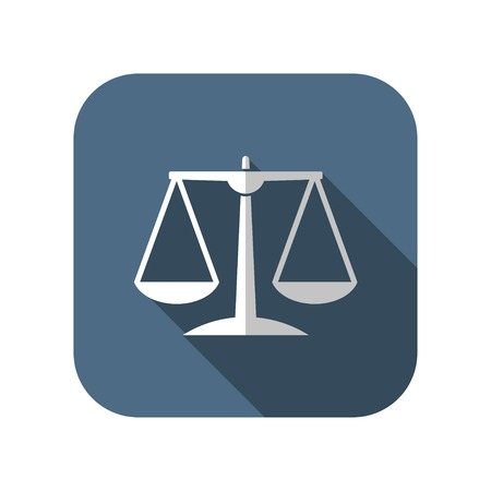 acquittal: Black Justice scale icon on white background Illustration