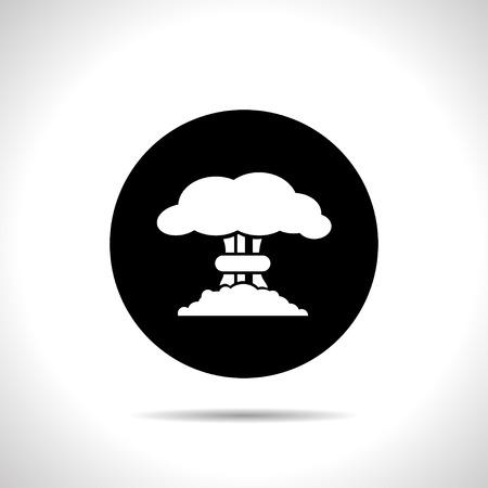 toxic cloud: Mushroom cloud, nuclear explosion, silhouette, vector Illustration