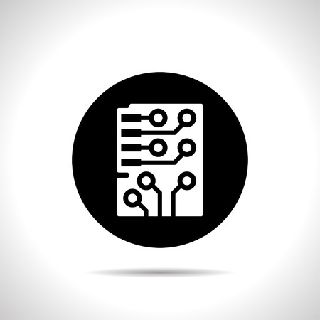 electronic components: Web icon of microchip, vector design