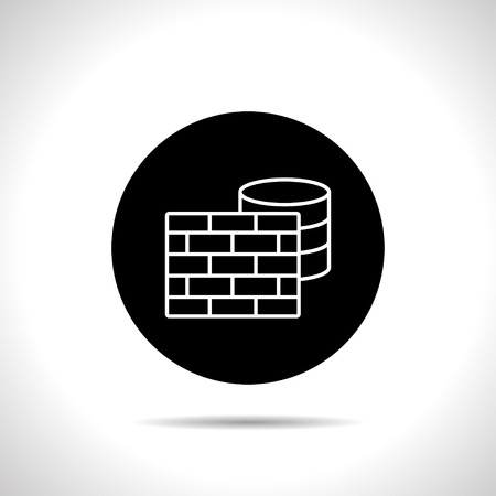 cylinder lock: icon of firewall and database Illustration