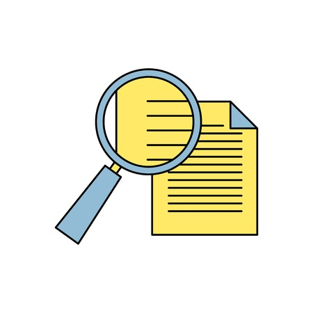 document icon: icon of loupe document Illustration
