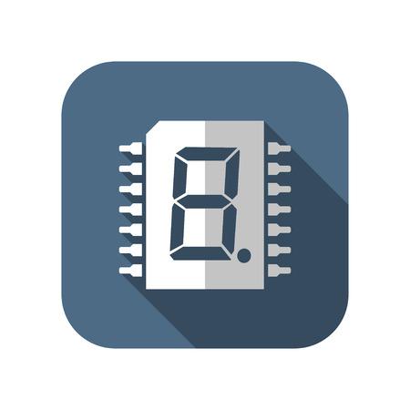 icon of digital microchip Illustration