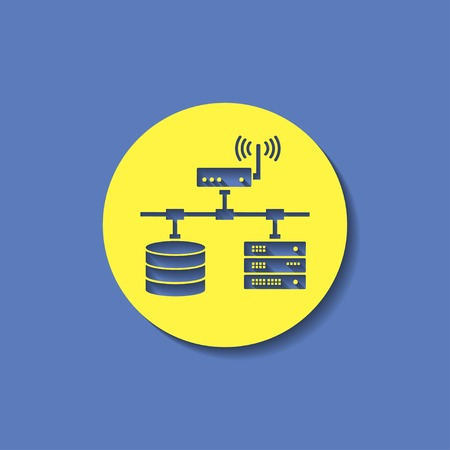 storage unit: flat computer network with database wifi and server Illustration