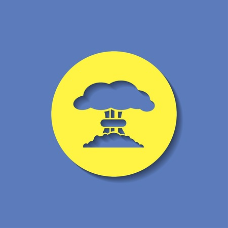 mushroom cloud: Mushroom cloud, nuclear explosion, silhouette, vector Illustration
