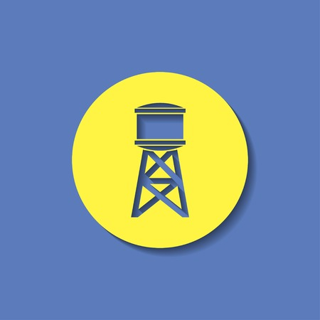 hold high: Industrial construction with water tank. Vector illustration Illustration