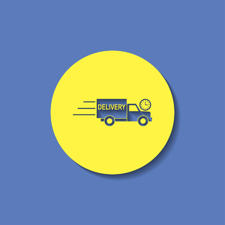 hurry up: delivery truck with clock icon
