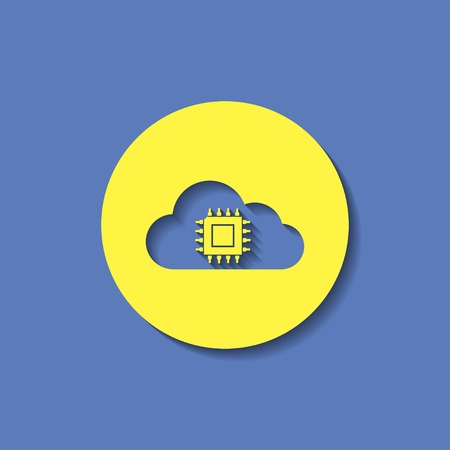 microchip: Icon of microchip in cloud Illustration