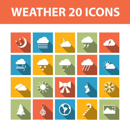thunder cloud: Weather 20 vector flat icons set Illustration