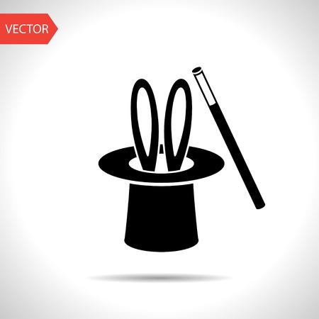 black hat: Conejo truco de magia en el cilindro sombrero negro