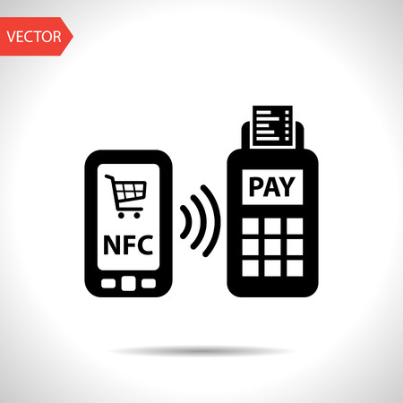 nfc payment from mobile phone icon Иллюстрация